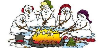 pupazzi di neve cuociono marshmallows e si sciolgono